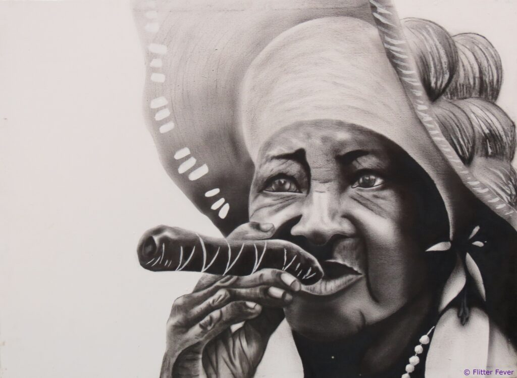 Cuban lady with cigar painting