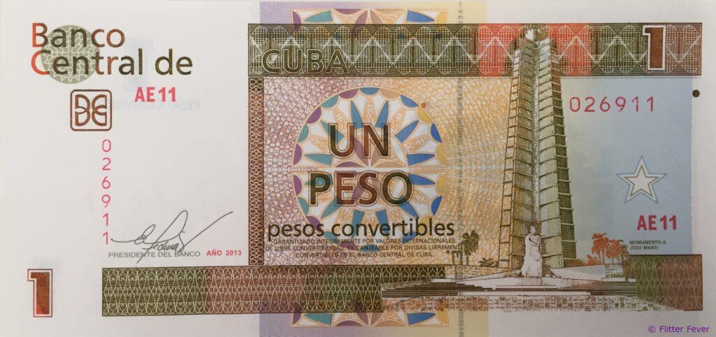 Cuban Peso Convertible CUC un peso Cuba money