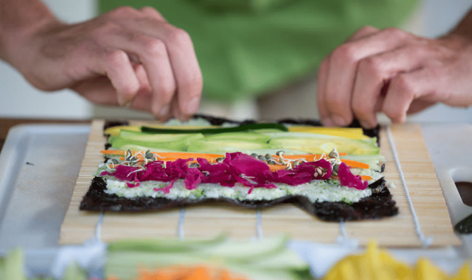 Raw Vegan Sushi in preparation stage @ Morna Retreats