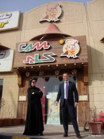 Making fun outside Camals Restaurant in Riyadh