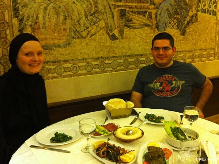 Out for dinner in the family section of Karam Restaurant in Riyadh