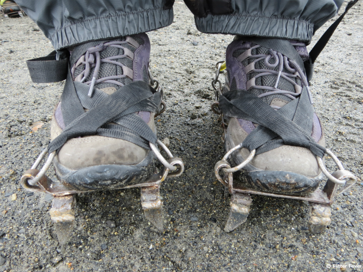Hiking boots with ice grips