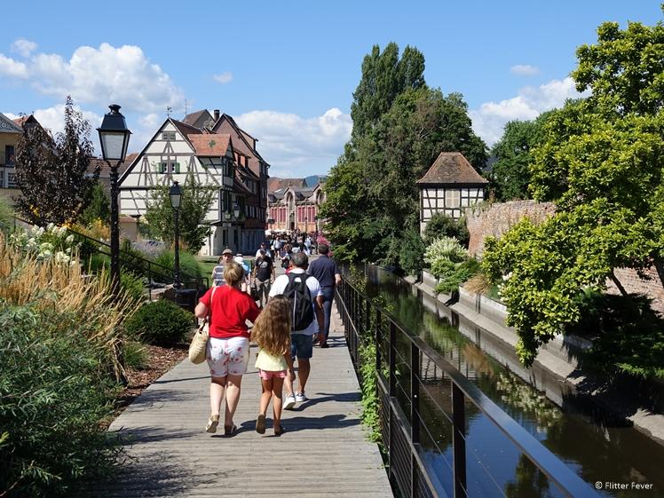 Board walk between parking and La Petite Venice in Colmar