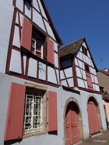 White pink house in Petite Venice in Colmar