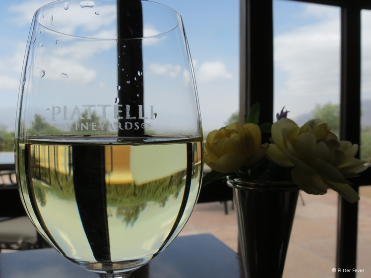 A glass of chardonnay at Piatelli Vineyards in Cafayate