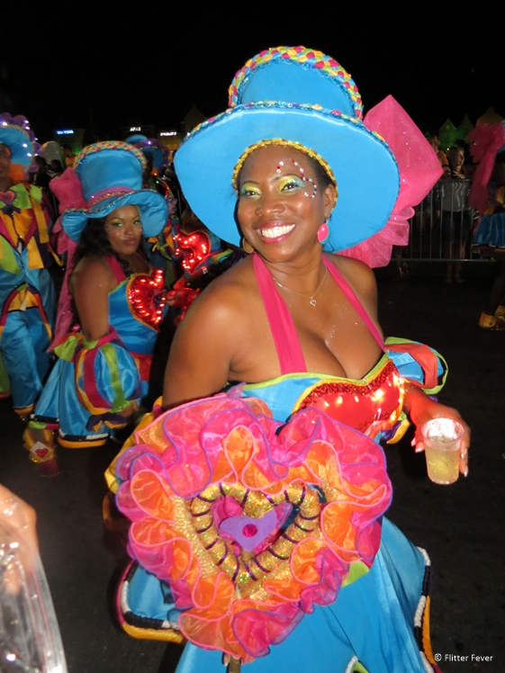 Beautiful lady in blue with heart at Carnaval Curacao