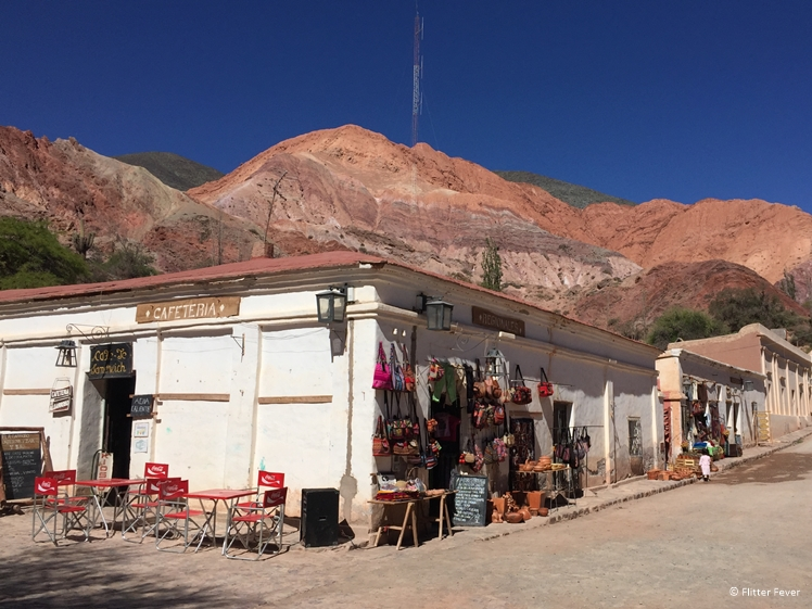 Cafetaria in Purmamarca with Cerro de los Siete Colores on the background