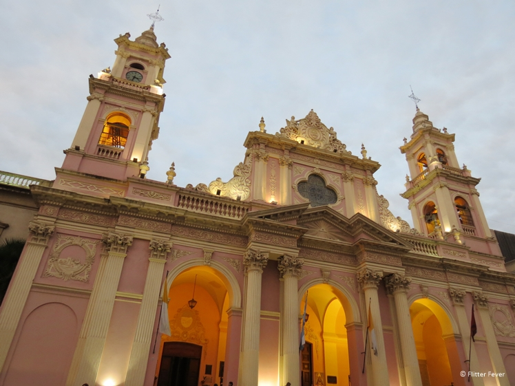 pink white church Catedral Basílica de Salta Argentina