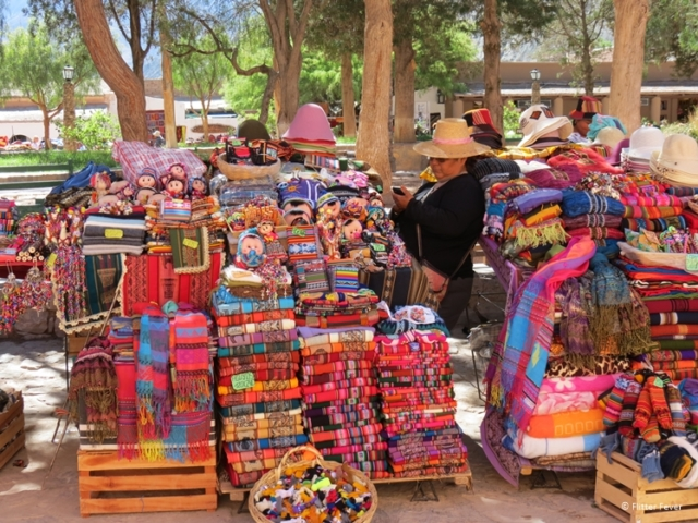 Colorful fabrics at the market in Purmamarca