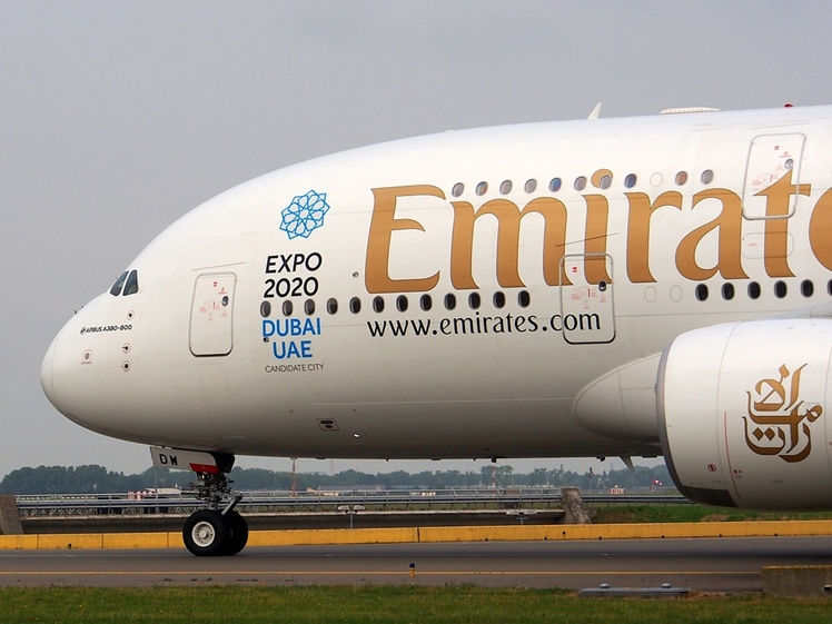 Emirates airplane with Expo 2020