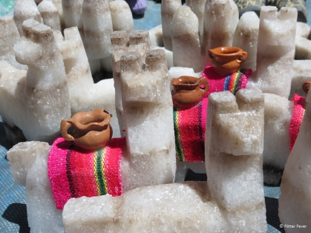 Guanacos made from salt for sale near Salinas Grandes Argentina
