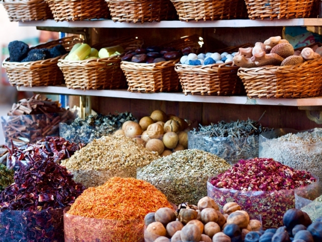 Herbs and spices at souk (market) in Dubai UAE