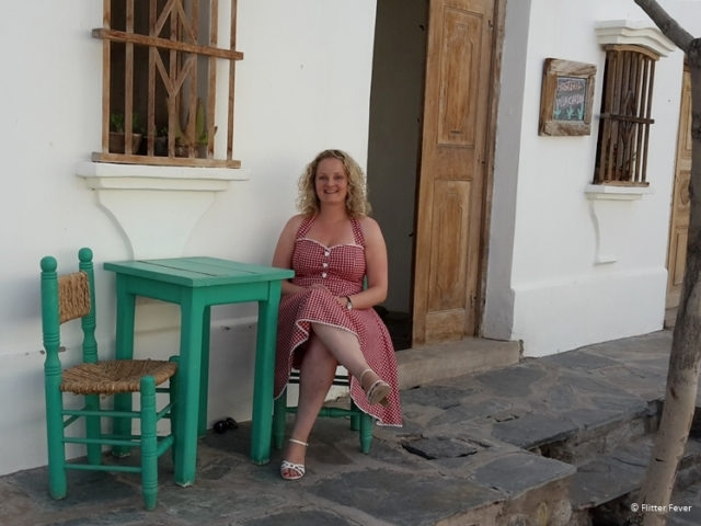 Sitting outside at Hosteria Villa Cardon in Cachi, Salta Province, Argentina