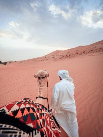 Camel and Arab man in the desert near Dubai