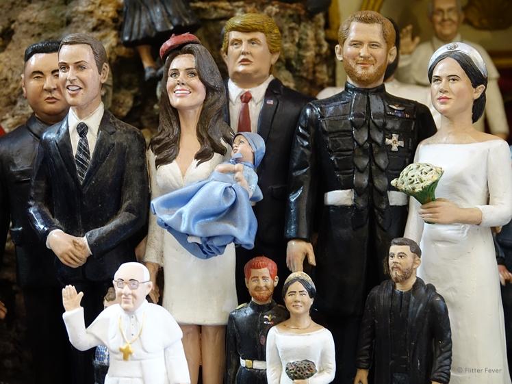 Famous characters as miniatures in Via San Gregorio Armeno shop (Naples)