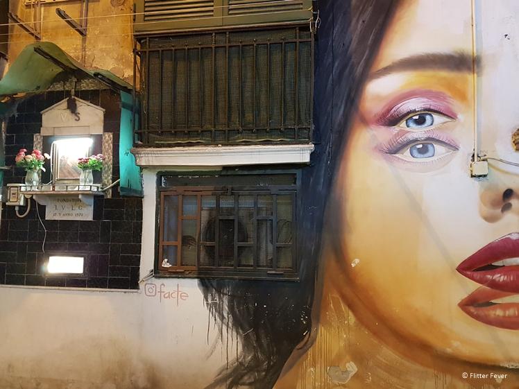 Street art woman double Naples