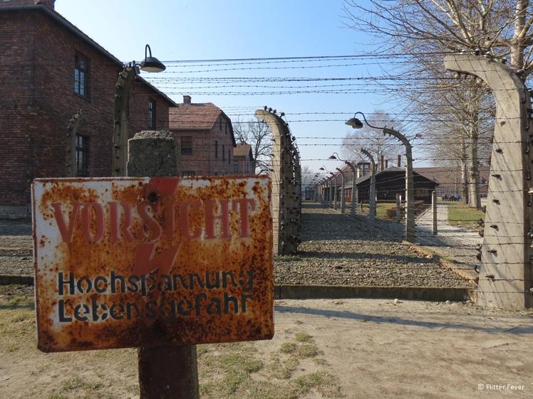 Auschwitz CAUTION high voltage danger to life