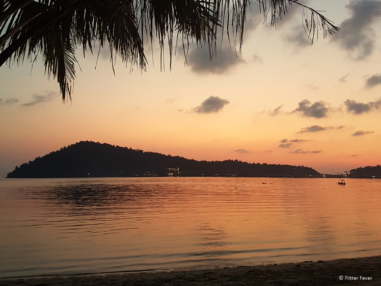 Orange sunset on Koh Chang island