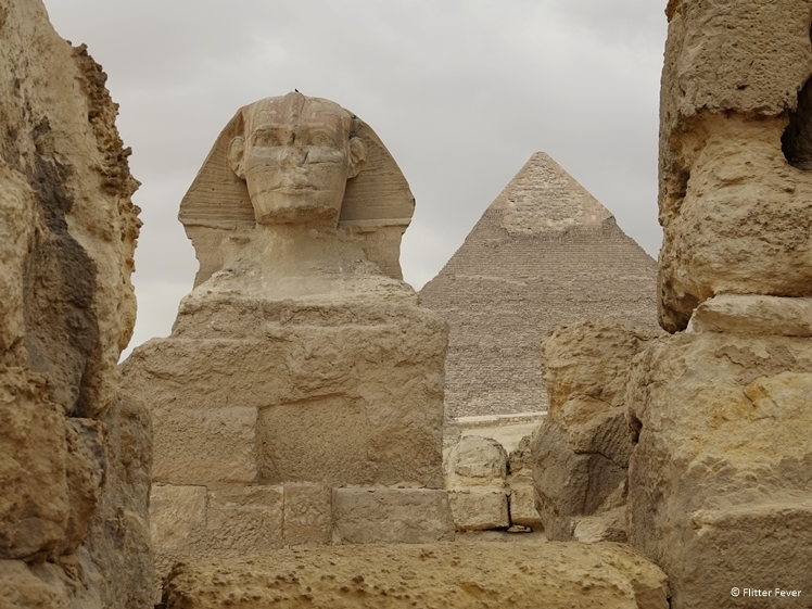The Great Spinx and Pyramid on Giza Plateau near Cairo