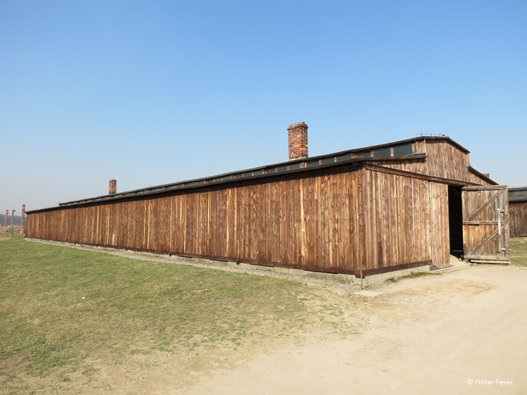 Wooden barracks in Auschwitz concentration camp II