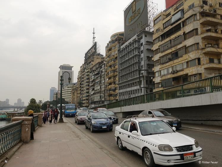 Flats and traffic on Nile Corniche in Cairo