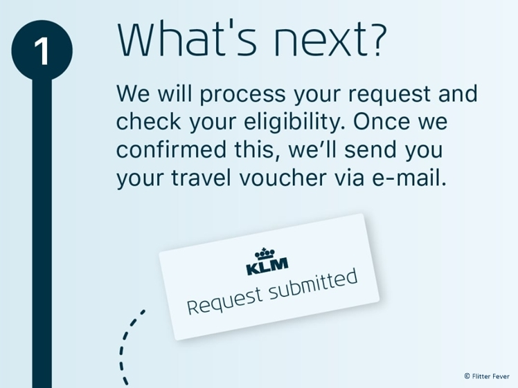 Submitting a voucher request - what's next? KLM Corona