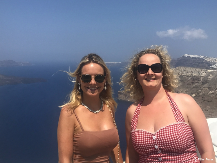 With travel buddy Marjolein on Santorini
