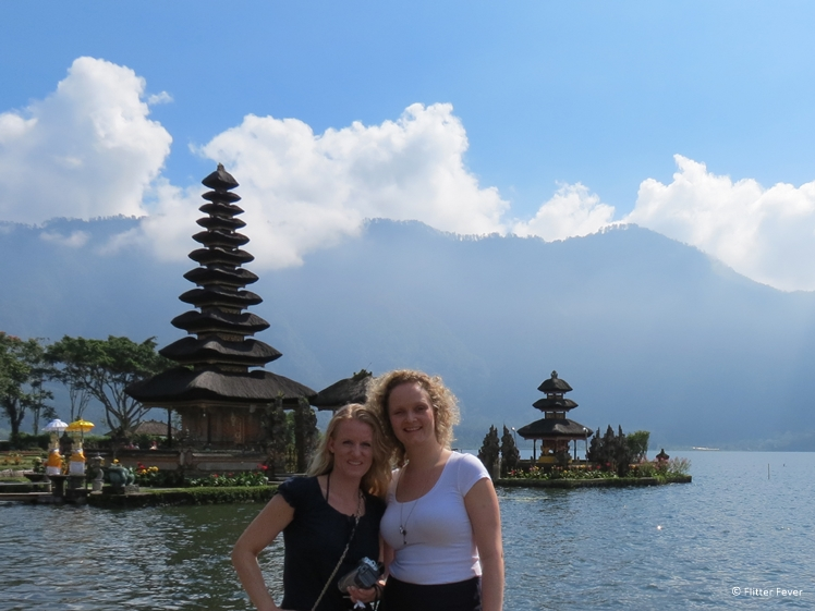 With travel buddy Diny on Bali Pura Ulun Danu Bratan