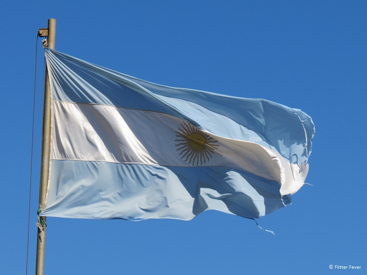 Argentinian flag bright sky