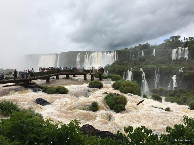 Iguazu Falls busy bridge