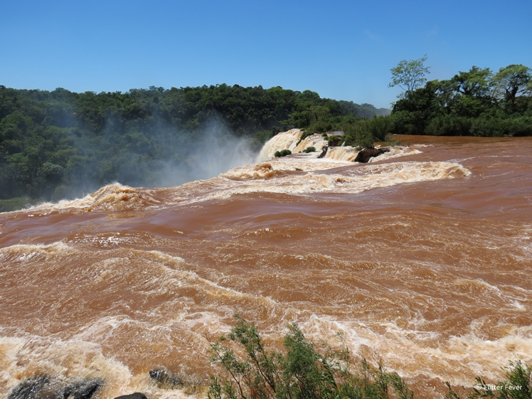 Iguazu Falls on top of waterfall